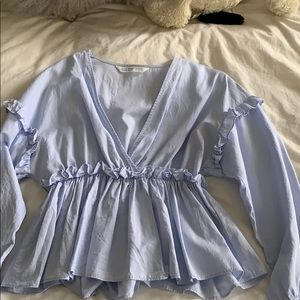 Zara blue cinched top